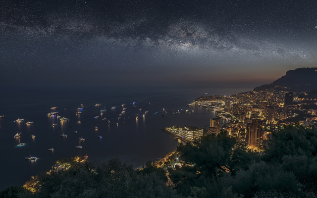 6749x3797 pix. Wallpaper monaco, monte carlo, city, night, yacht, stars, sea