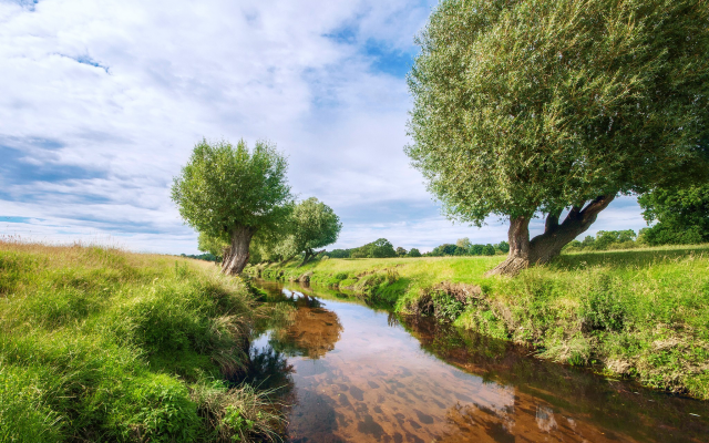 2048x1365 pix. Wallpaper nature, landscape, river, field, grass, tree
