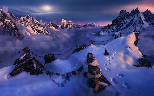 1920x935 pix. Wallpaper Nepal, Himalayas, nature, landscape, mountain, snow, summit, moonlight, sky, flag, winter, cold