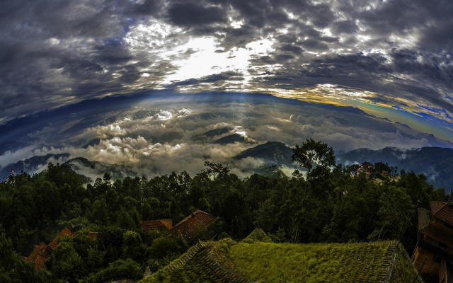 1920x1200 pix. Wallpaper nature, landscape, Nepal, sunrise, trees, clouds, mountain, sun rays, rooftops, sky, panoramas