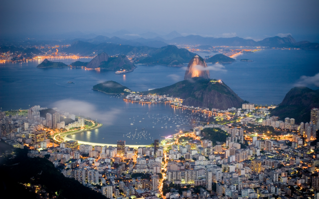 2738x1825 pix. Wallpaper rio de Janeiro, sea, coast, evening, lights, brazil, city, mountains