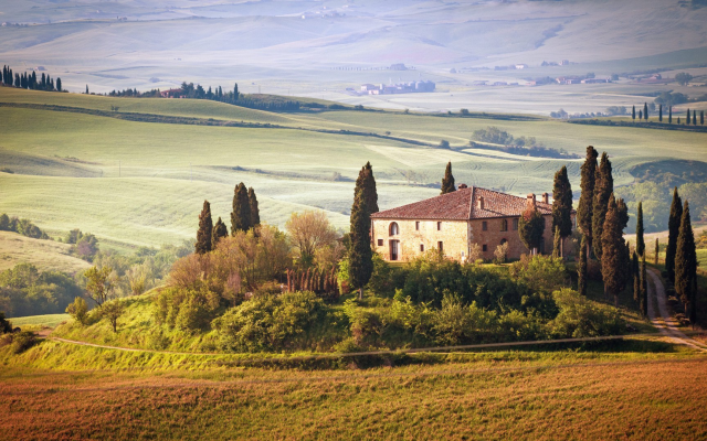 1920x1080 pix. Wallpaper Tuscany, Italy, nature, landscape, house, dreams