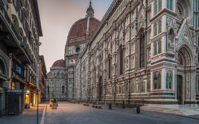 1920x1080 pix. Wallpaper architecture, old building, town, street, urban, Florence, Italy, lights, cathedral, arches, Gothic
