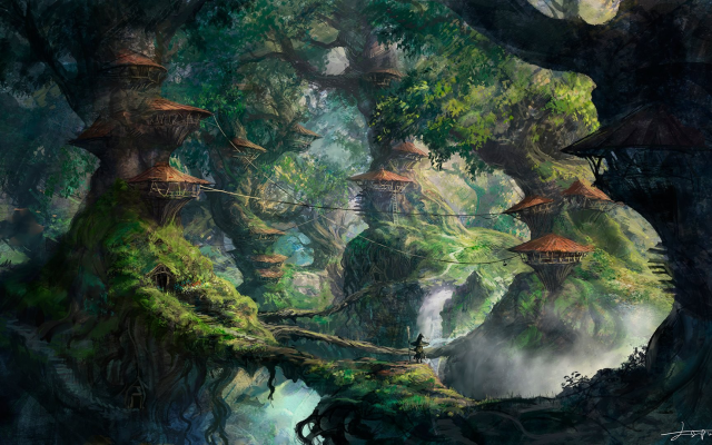 1920x1080 pix. Wallpaper fantasy art, wizard, forest, trees, house