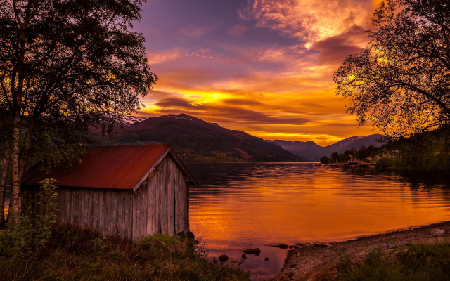 1920x1200 pix. Wallpaper nature, landscape, boathouses, lake, sunset, Norway, trees, mountain, sky, clouds, shrubs, water, go
