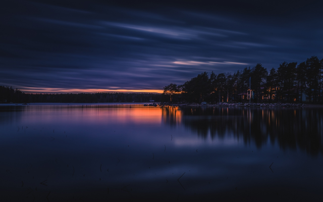2560x1600 pix. Wallpaper ruonala, finland, lake, sunset, nature, evening, sky