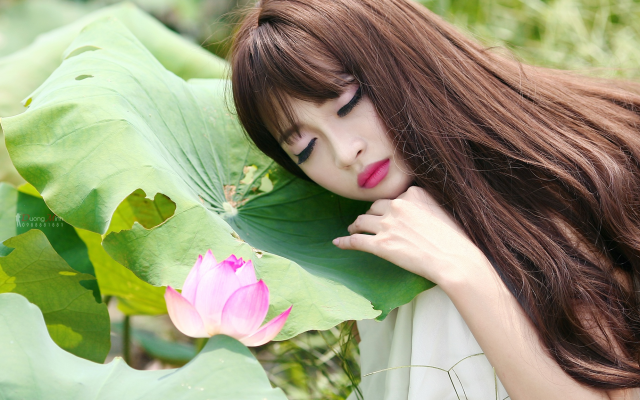 2048x1152 pix. Wallpaper asian, long hair, makeup, flowers, women, plants, closed eyes, face, lotus