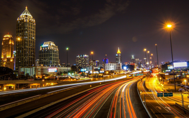 1920x1080 pix. Wallpaper Atlanta, USA, city, night, lights, street light, building, skyscraper, long exposure