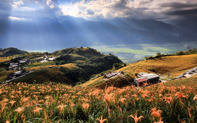 4200x2800 pix. Wallpaper nature, landscape, taiwan, hill, sky, valley, clouds, sun rays, flowers, daylily