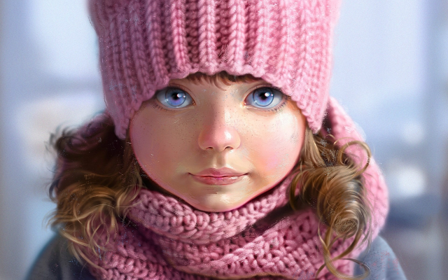 1920x1440 pix. Wallpaper picture, child, girl, baby, art, hat, winter, scarf