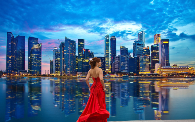1920x1200 pix. Wallpaper red dress, cityscape, skyscrapers, singapore, smilig girl