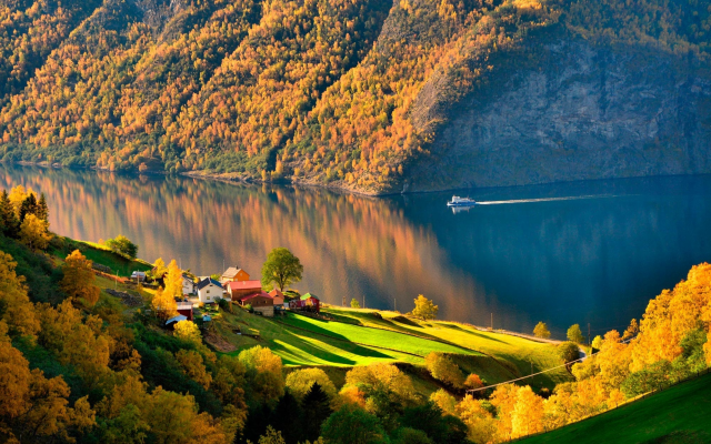 2000x1334 pix. Wallpaper norway, autumn, fjord, ship, forest, village, nature