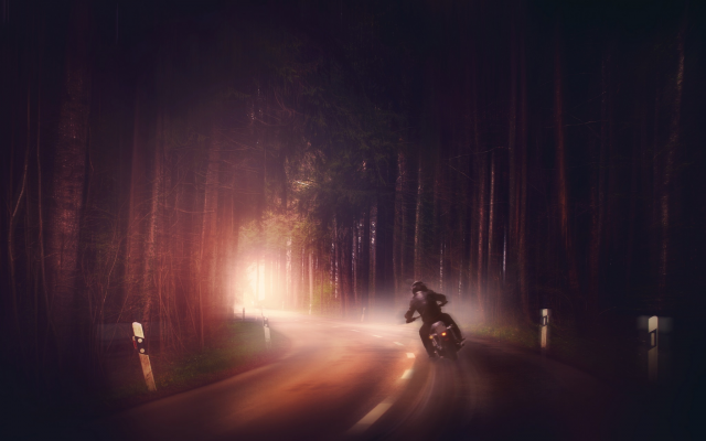 2048x1365 pix. Wallpaper road, fog, forest, night, motorcyclist, biker, bike, motorcycle