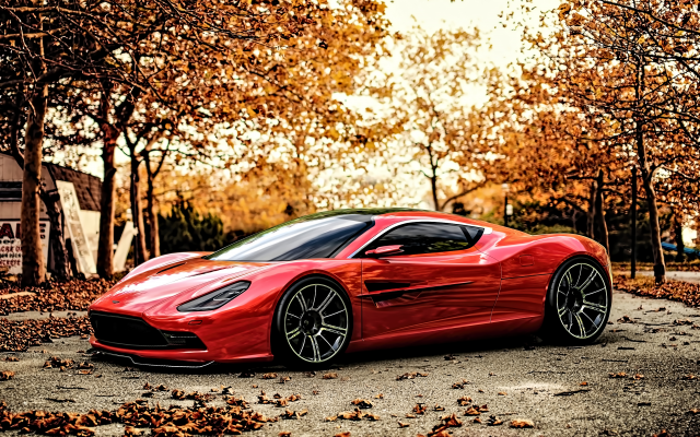 3840x2160 pix. Wallpaper cars, supercar, sunset, aston martin, aston martin dbc, concept cars, red cars, autumn