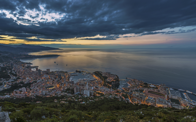 5400x3000 pix. Wallpaper monaco, coast, sea, evening, city, clouds