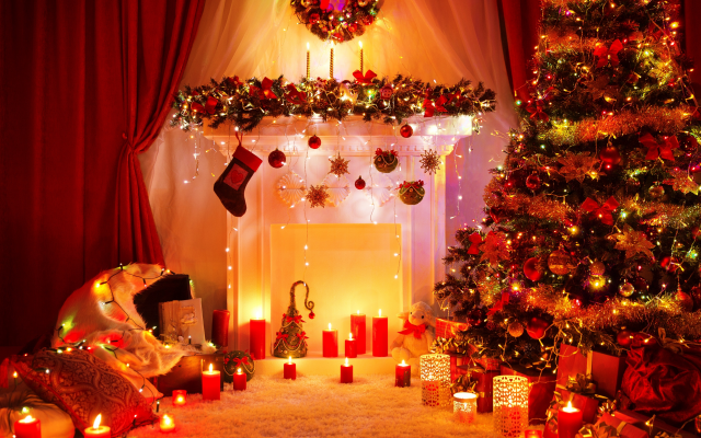 4454x3768 pix. Wallpaper holidays, christmas, new year, christmas tree, lights, candles
