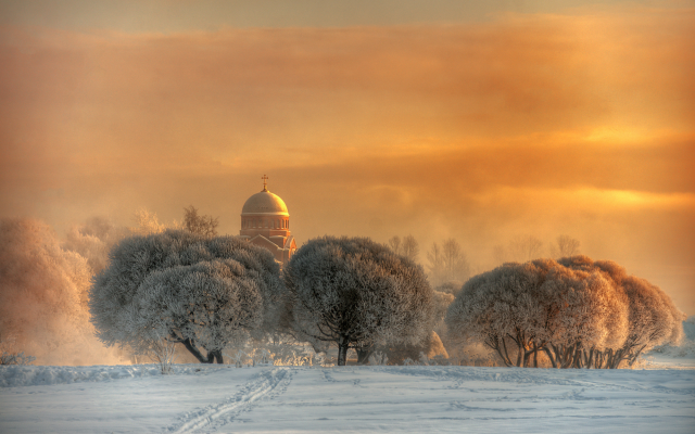 2000x1294 pix. Wallpaper church, nature, winter, snow, tree, frost, dome, sunset, saint-petersburg, russia