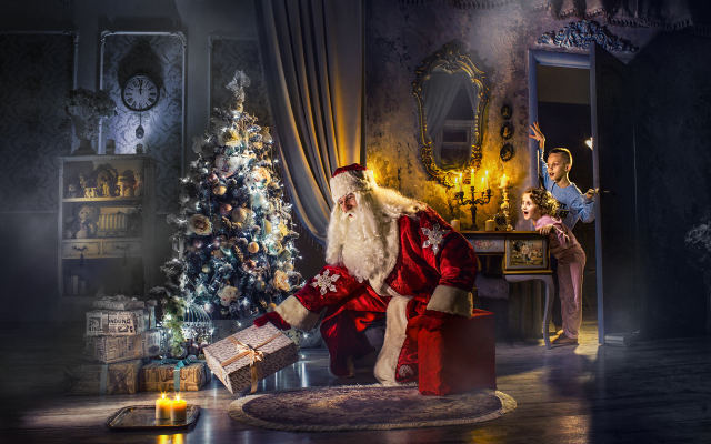2000x1234 pix. Wallpaper holidays, new year, candles, children, christmas tree, santa claus, gifts