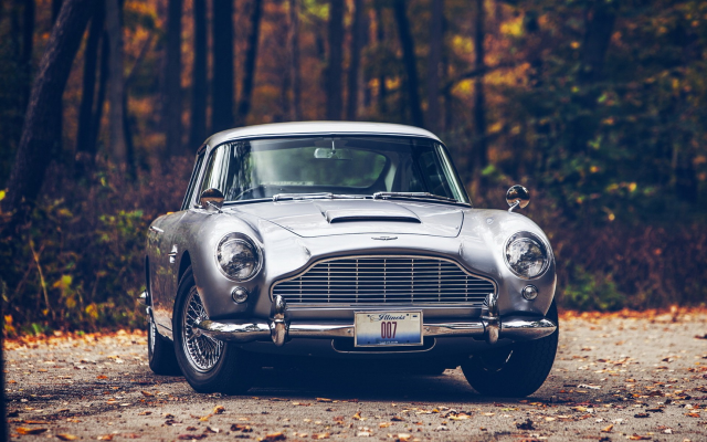 1920x1200 pix. Wallpaper car, Aston Martin, Aston Martin DB5, fall, road, forest, 007, James Bond, leaves