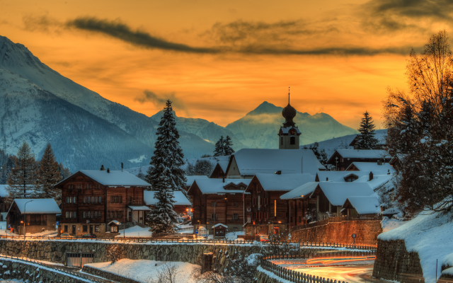 5466x3646 pix. Wallpaper switzerland, mountains, house, winter, evening, town, sunset