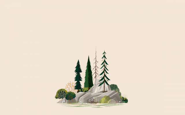 2560x1440 pix. Wallpaper illustration, simple, minimalism, forest, trees, rock