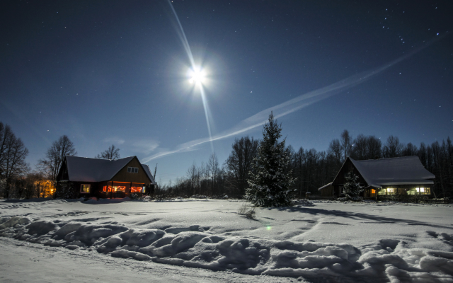 2684x1520 pix. Wallpaper winter, snow, house, tree, moon, night, nature