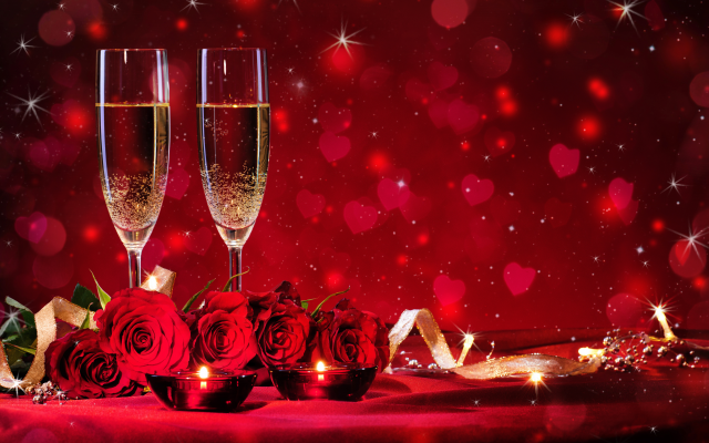4452x2800 pix. Wallpaper holidays, flowers, roses, ribbon, glasses, champagne, heart, sparkles
