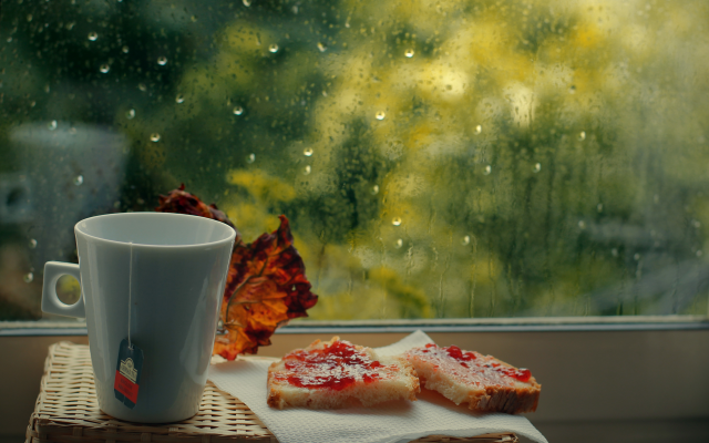 4601x3067 pix. Wallpaper window, cup, food, emotions, rain
