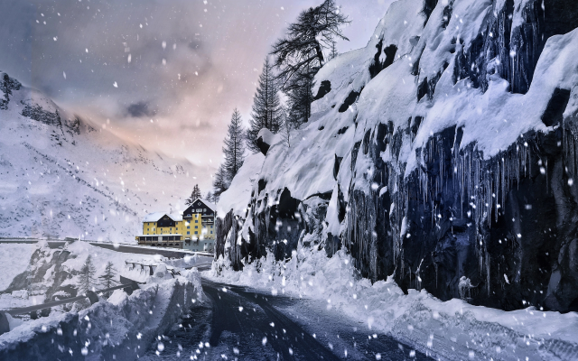 2048x1280 pix. Wallpaper nature, winter, snow, mountains, road, houses