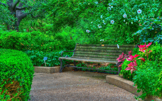 2880x1800 pix. Wallpaper bench, flowers, park
