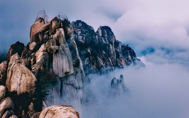 2201x1467 pix. Wallpaper nature, mountains, morning, fog, clouds, south korea