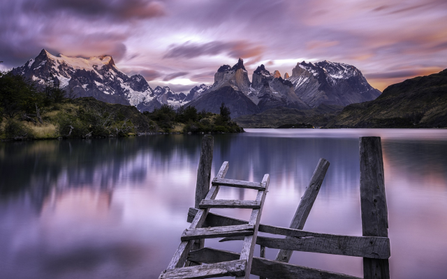 2100x1315 pix. Wallpaper Torres del Paine, clouds, Chile, nature, landscape, lake, mountain, sunrise, calm, summer, water