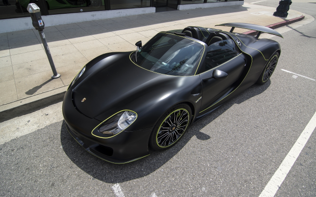 2560x1600 pix. Wallpaper black car, cars, porsche 918 spyder, matte black, porsche 918, porsche
