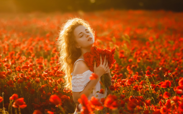 1920x1280 pix. Wallpaper women, flowers, red flowers, outdoors, closed eyes, girl, poppies, poppy, nature