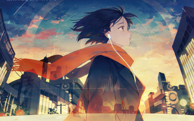 2049x1416 pix. Wallpaper higata, scarf, anime girls, anime, headphones