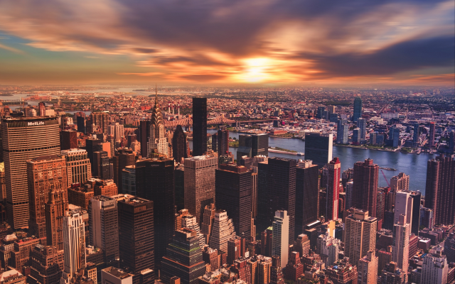 3840x2400 pix. Wallpaper new york, sunset, panorama, city, usa, skyscrapers, sunset