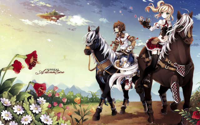 1920x1080 pix. Wallpaper Surreal Adventure, Minitokyo, anime, art, horse