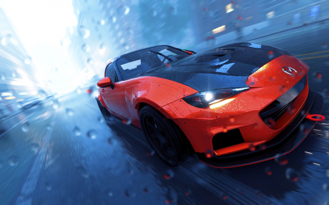 3840x2160 pix. Wallpaper the crew 2, video games, the crew, car, wet, mazda, red car
