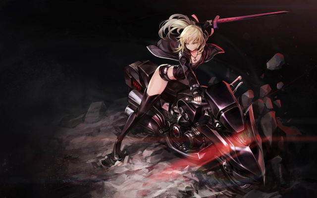 1920x1080 pix. Wallpaper fate grand order, saber alter, thigh-highs, gloves, weapon, sword, motorcycle, bike, anime