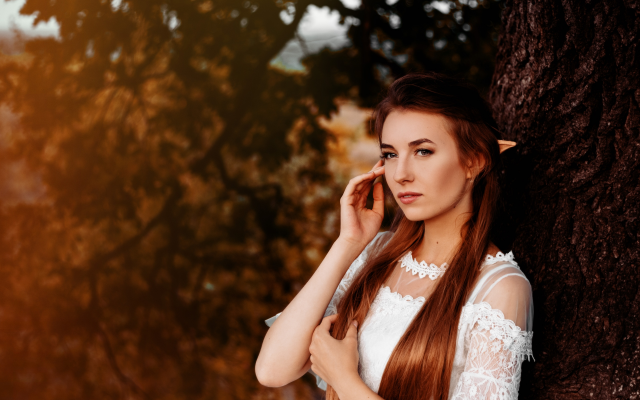 2560x1707 pix. Wallpaper women, model, brunette, elves, tree, white dress, dress
