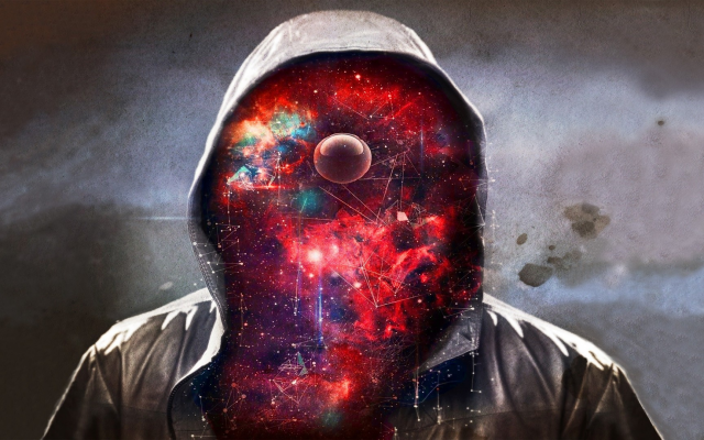 1920x1080 pix. Wallpaper men, art, galaxy, hood, space, creative