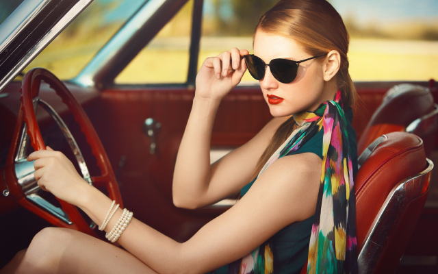 1920x1200 pix. Wallpaper sunglasses, scarf, bangles, red lipstick, car, blonde, vintage, sitting, women