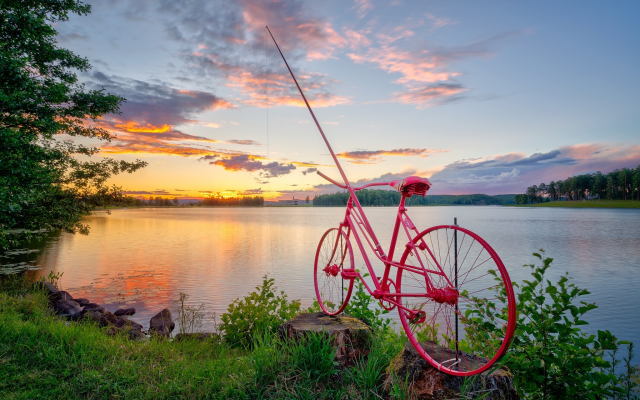 2048x1367 pix. Wallpaper norway, nature, lake, sunset, bicycle, fishing rod