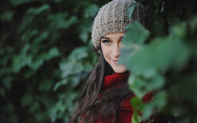 1920x1200 pix. Wallpaper woolen, smiling, brunette, gray eyes, scarf, nature, long hair, women