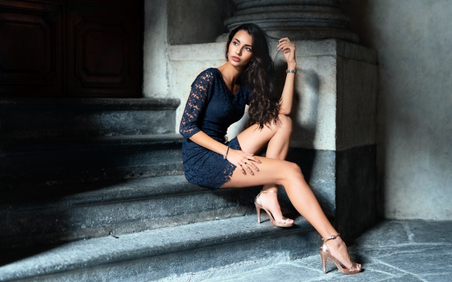 3000x2000 pix. Wallpaper women, model, brunette, dress, sitting, stairs, heels, sexy legs