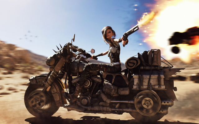 4000x2250 pix. Wallpaper anime, fantasy, bike, gun, fire, biker, mad max, art