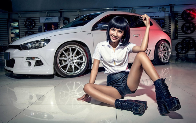1920x1200 pix. Wallpaper volkswagen, white car, cars, smile, women, girl, asian, skinny, legs, volkswagen scirocco
