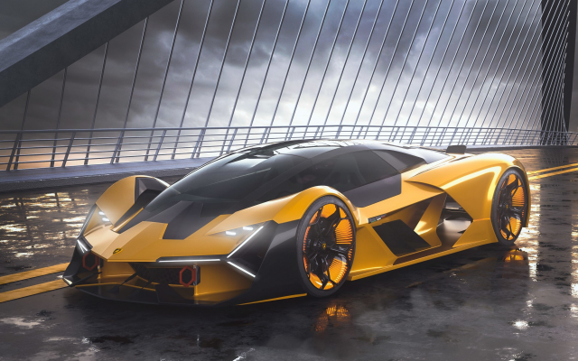 3000x1875 pix. Wallpaper lamborghini terzo millennio, supercar, concept, cars, lamborghini, yellow car, bridge