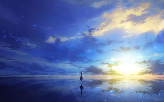2848x1200 pix. Wallpaper 3d, art, sea, reflection, anime, fantasy
