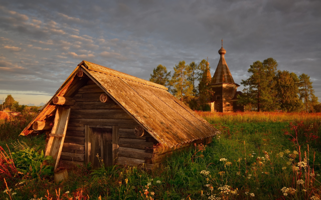 2560x1709 pix. Wallpaper nature, village, hut, house, church, grass, sunset, clouds, russia